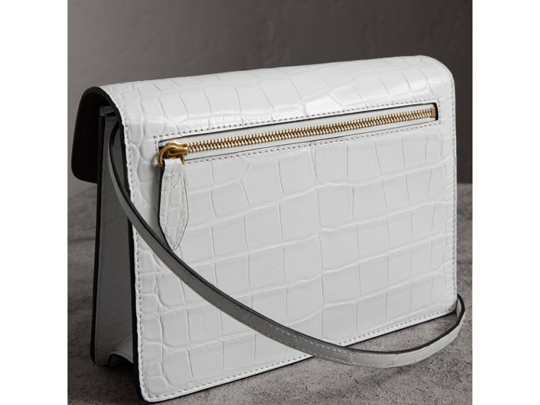 Small Alligator Crossbody Bag in Chalk White - Women | Burberry - cell image 4