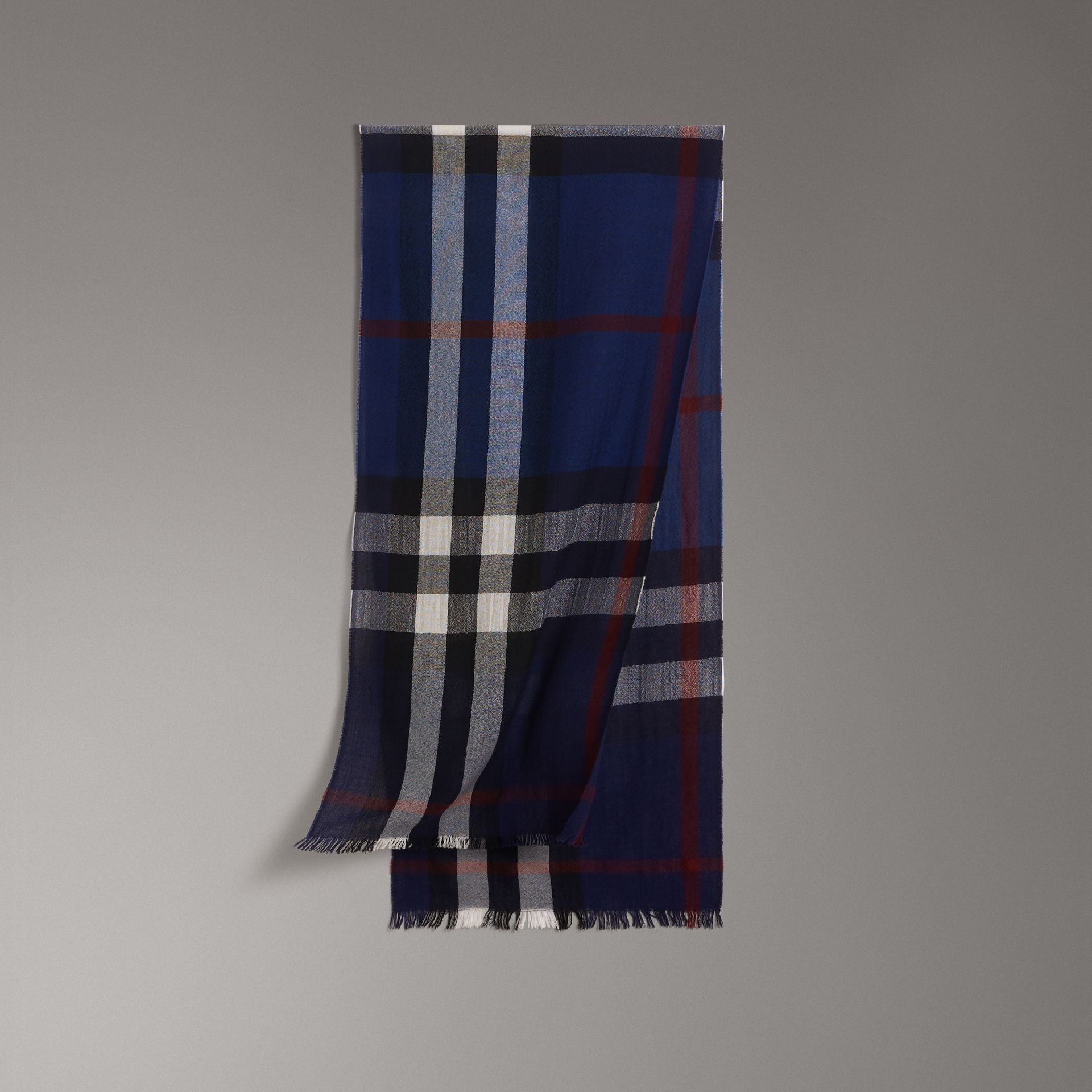 Lightweight Check Wool Cashmere Scarf in Navy | Burberry Singapore - gallery image 0