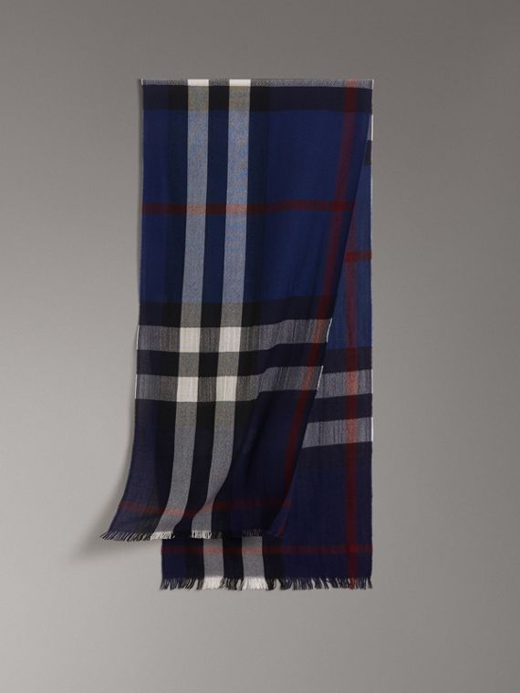 Lightweight Check Wool Cashmere Scarf in Navy
