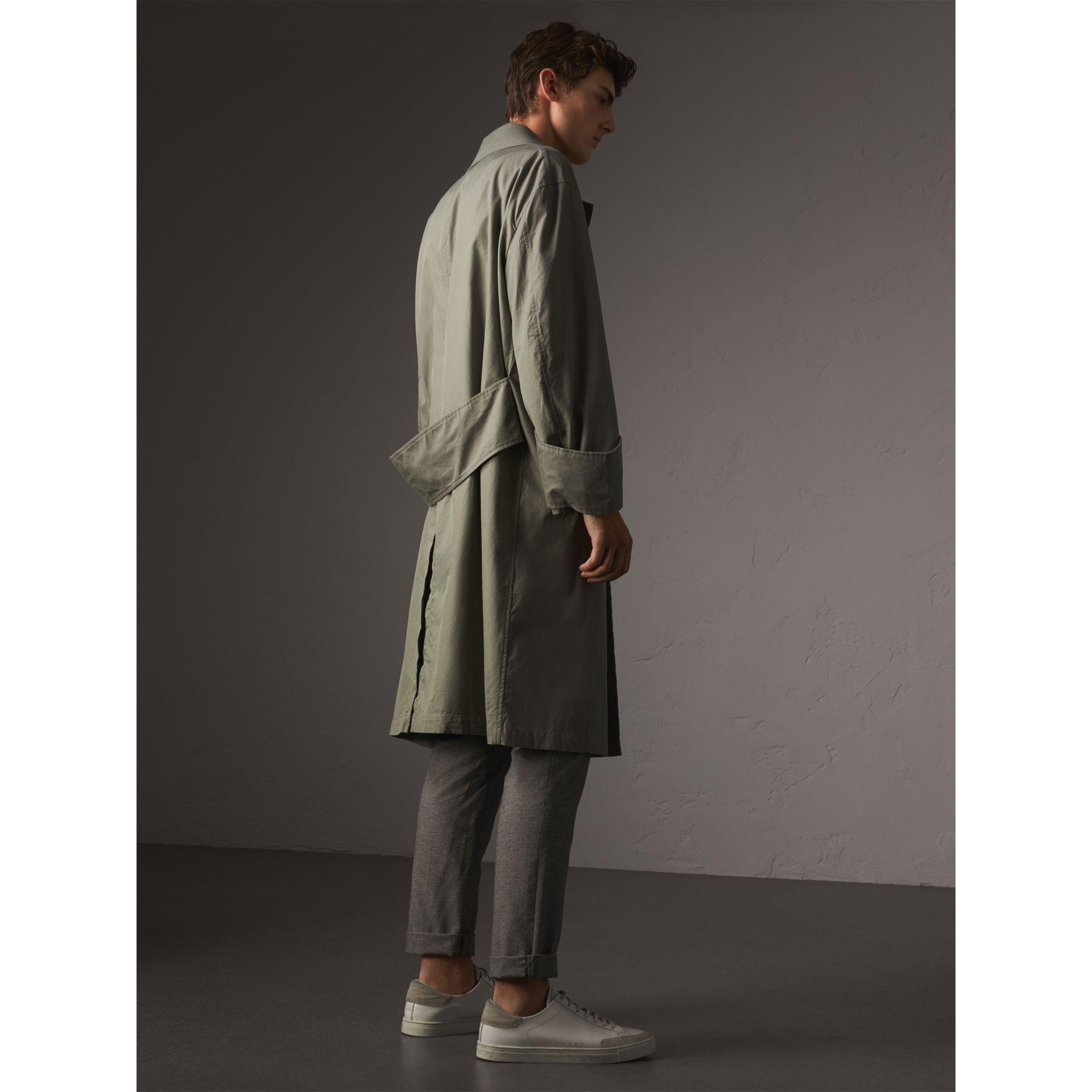 Unisex Tropical Gabardine Car Coat with Exaggerated Cuffs in Slate Green - Men | Burberry - gallery image 3