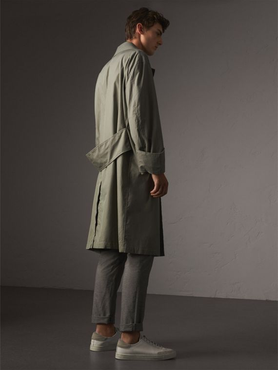 Unisex Tropical Gabardine Car Coat with Exaggerated Cuffs in Slate Green - Men | Burberry - cell image 2