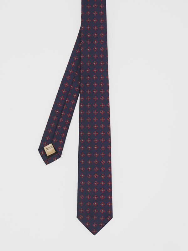 Modern Cut Graphic Floral Silk Jacquard Tie in Military Red - Men | Burberry - cell image 3