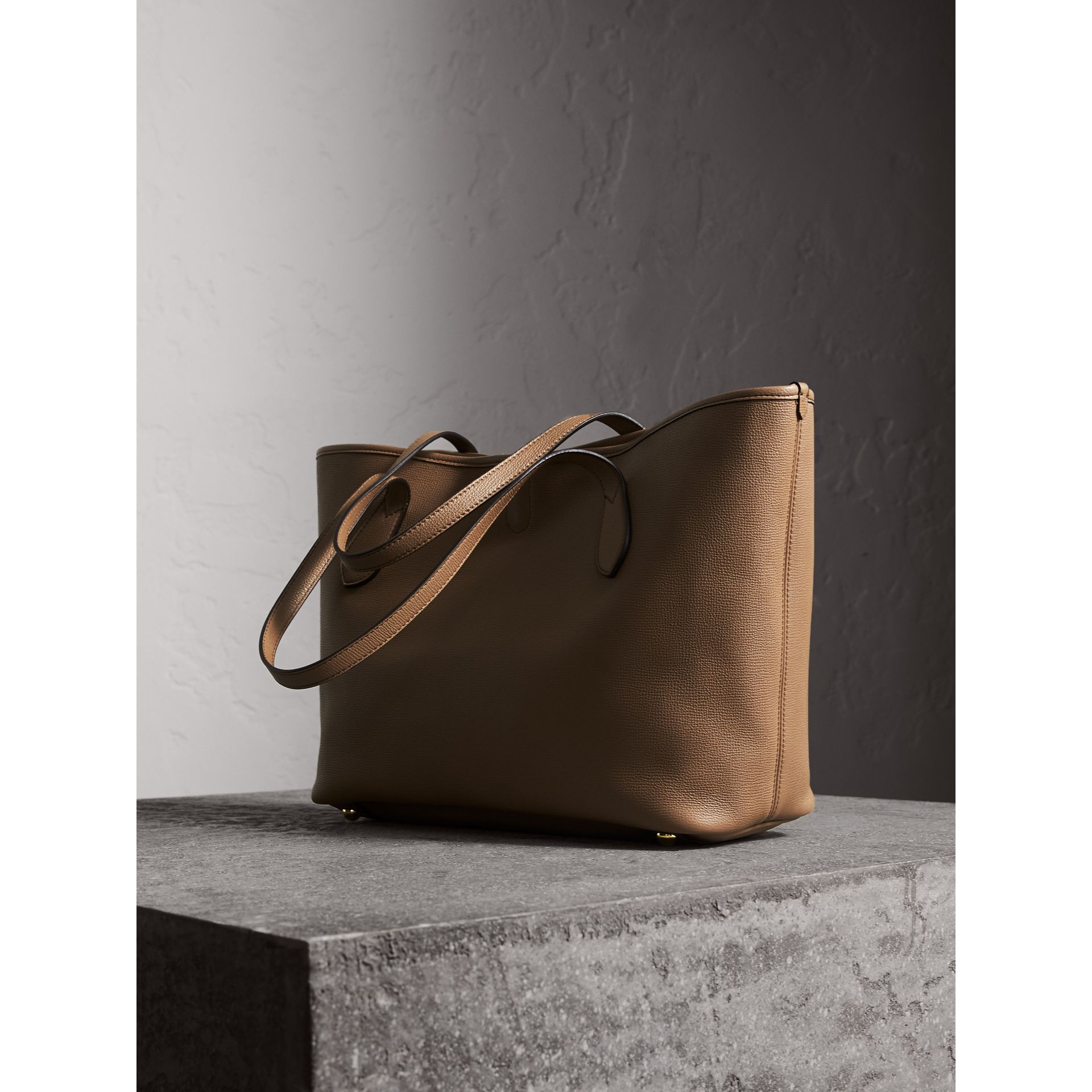Medium Grainy Leather Tote Bag in Dark Sand - gallery image 5
