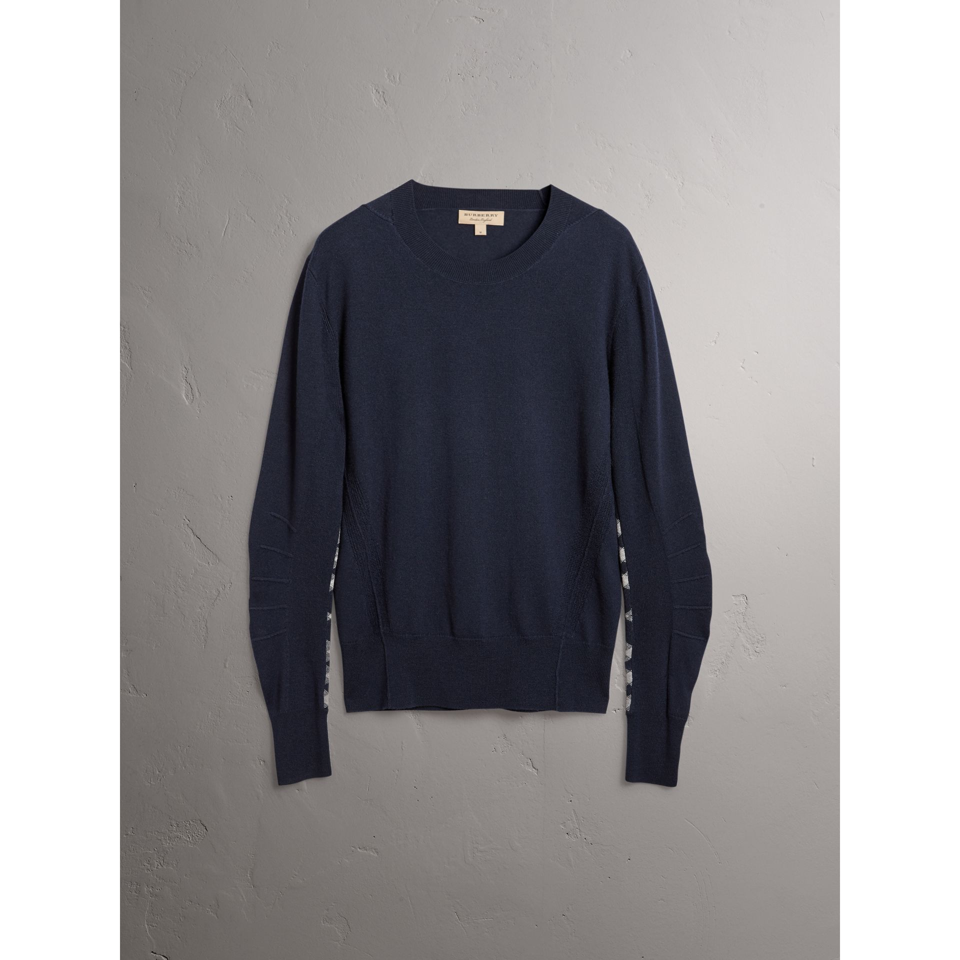Check Detail Merino Wool Sweater in Navy - Men | Burberry - gallery image 4