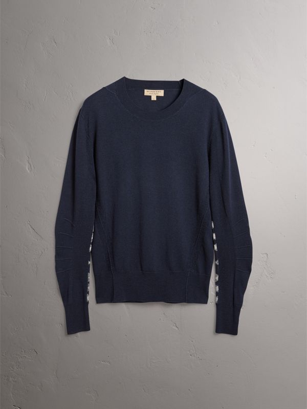 Check Detail Merino Wool Sweater in Navy - Men | Burberry - cell image 3