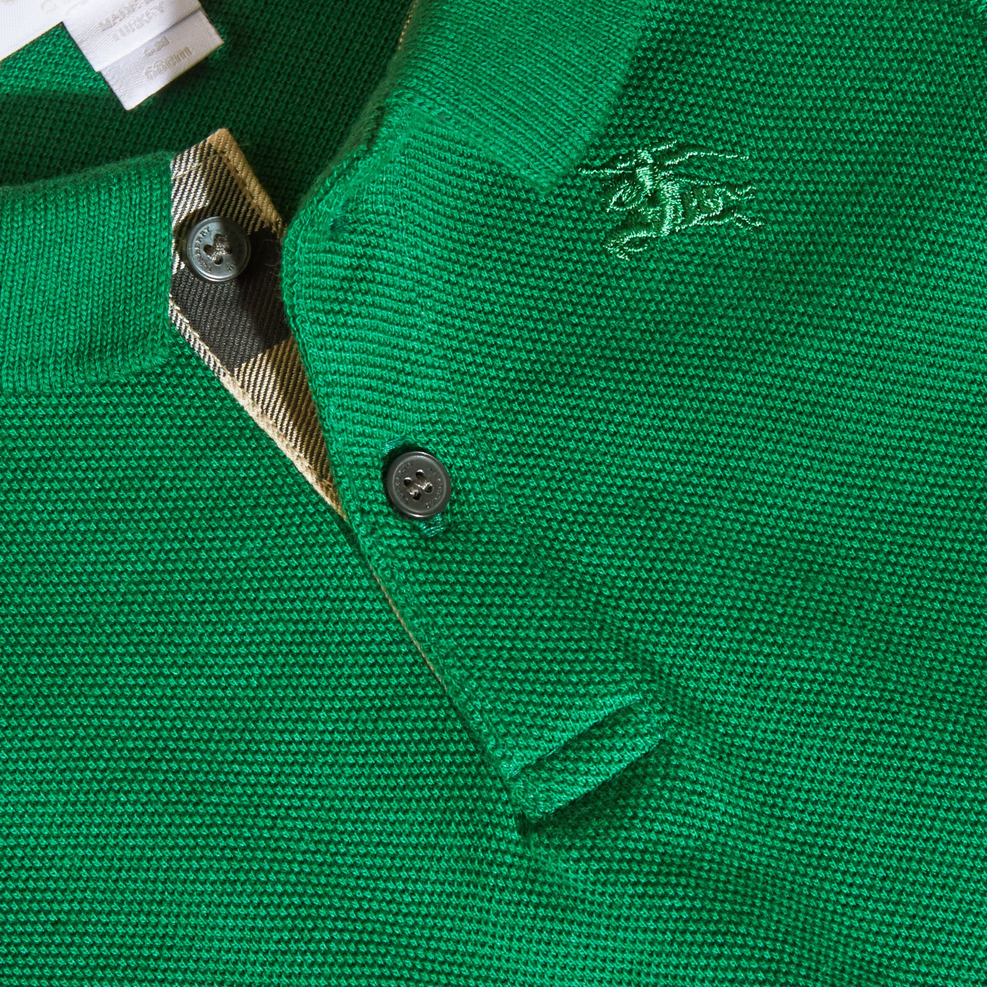 Cotton Piqué Polo Shirt Bright Pigment Green - gallery image 2