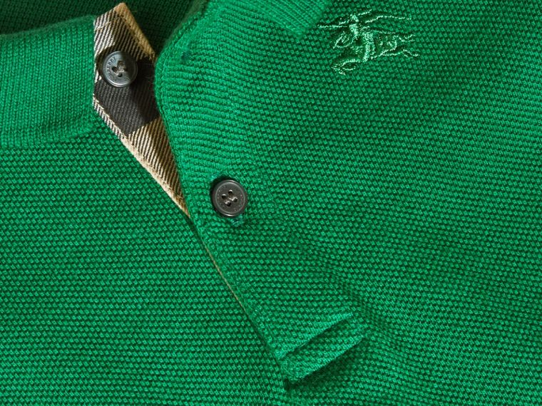 Cotton Piqué Polo Shirt Bright Pigment Green - cell image 1