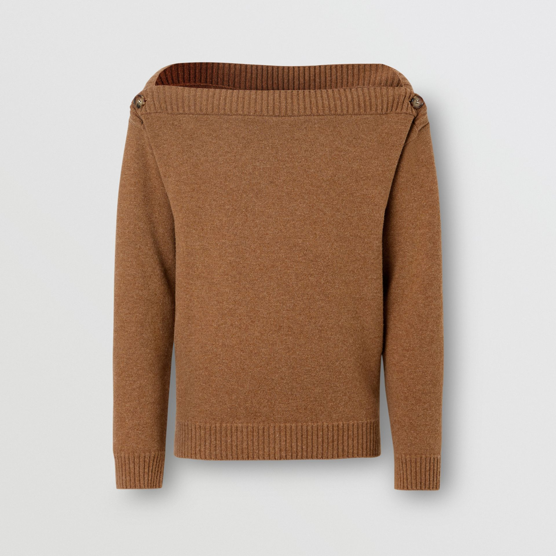 Boat Neck Wool Sweater in Dark Walnut - Men | Burberry - gallery image 3