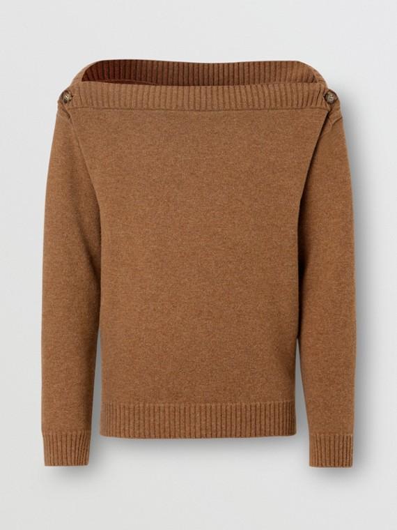 Boat Neck Wool Sweater in Dark Walnut