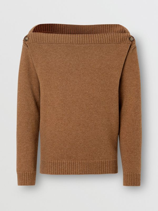 Boat Neck Wool Sweater in Dark Walnut - Men | Burberry - cell image 3