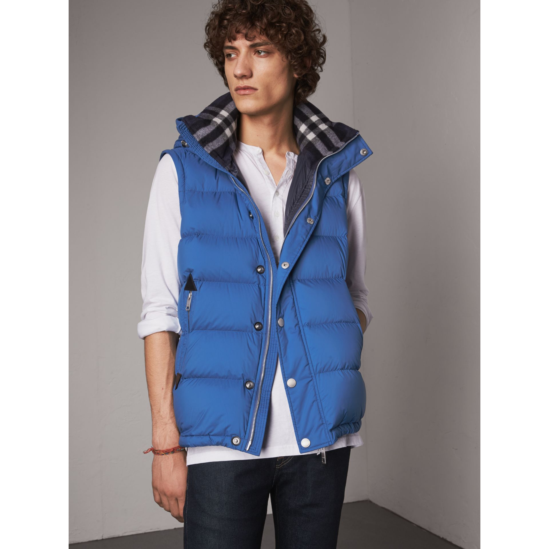 Detachable-sleeve Down-filled Puffer Jacket in Cerulean Blue - Men | Burberry Singapore - gallery image 6