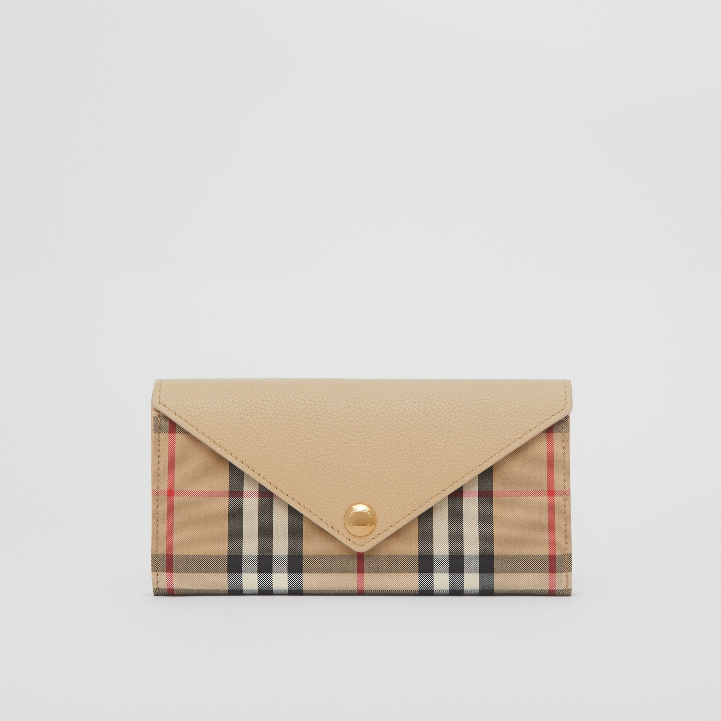 Vintage Check and Leather Continental Wallet in Light Beige - Women | Burberry - 1