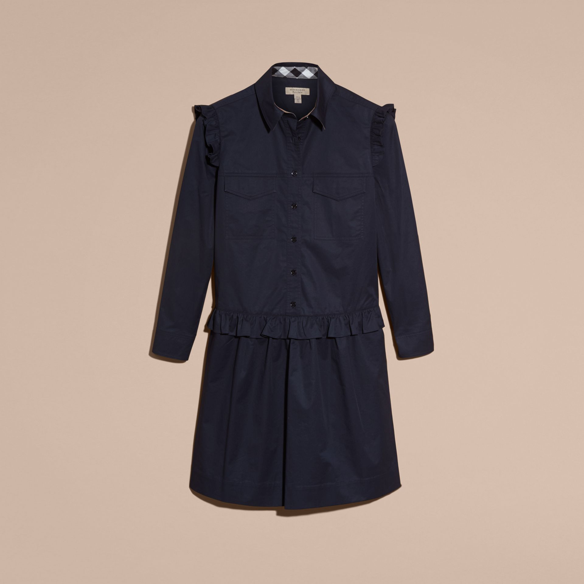 Ruffle and Check Detail Cotton Shirt Dress Navy - gallery image 4