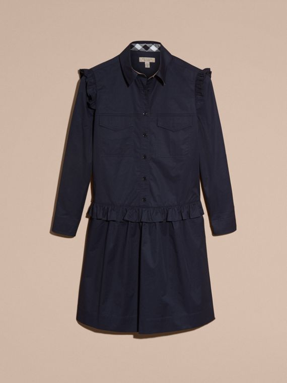 Ruffle and Check Detail Cotton Shirt Dress Navy - cell image 3