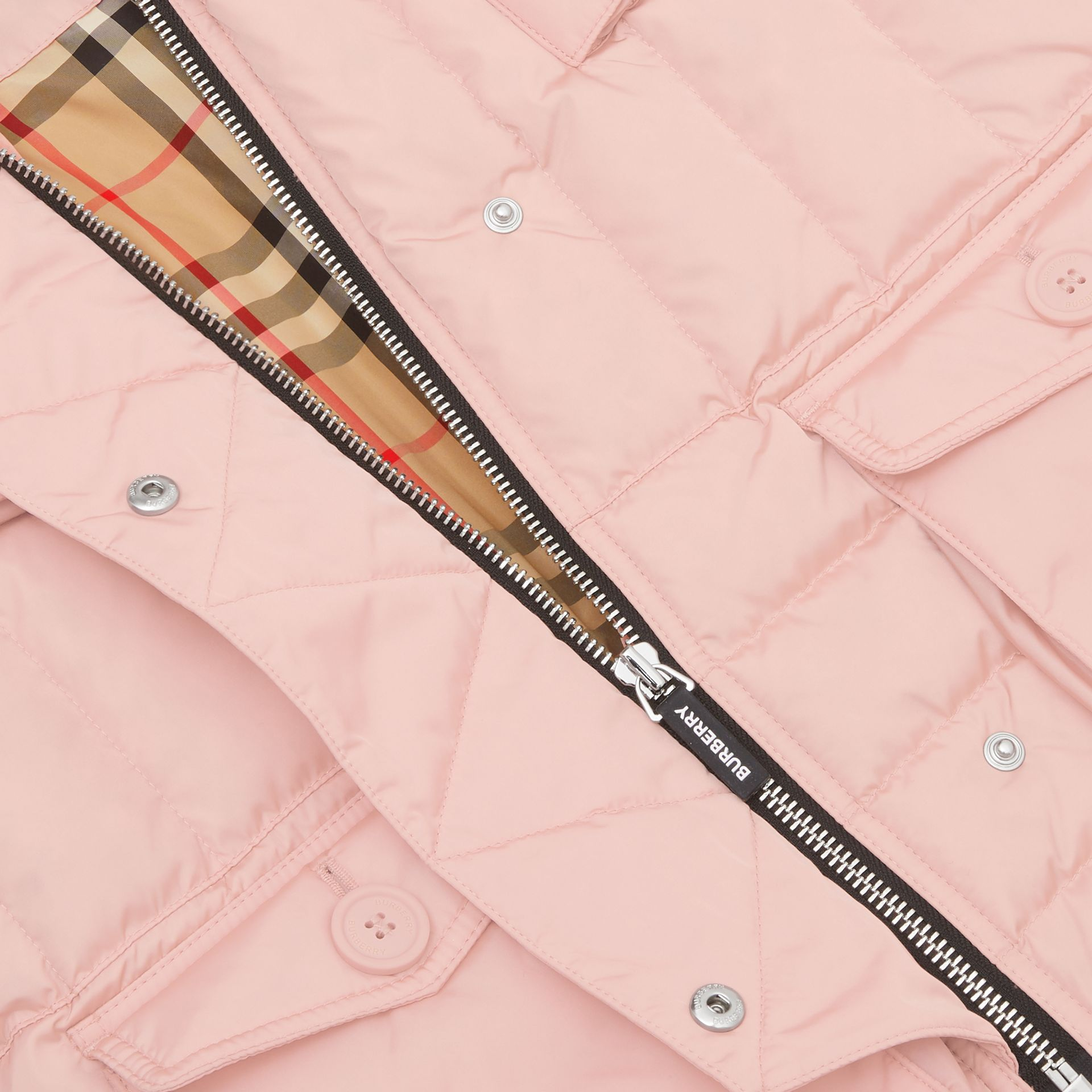 Down-filled Hooded Puffer Gilet in Dusty Pink | Burberry - gallery image 1