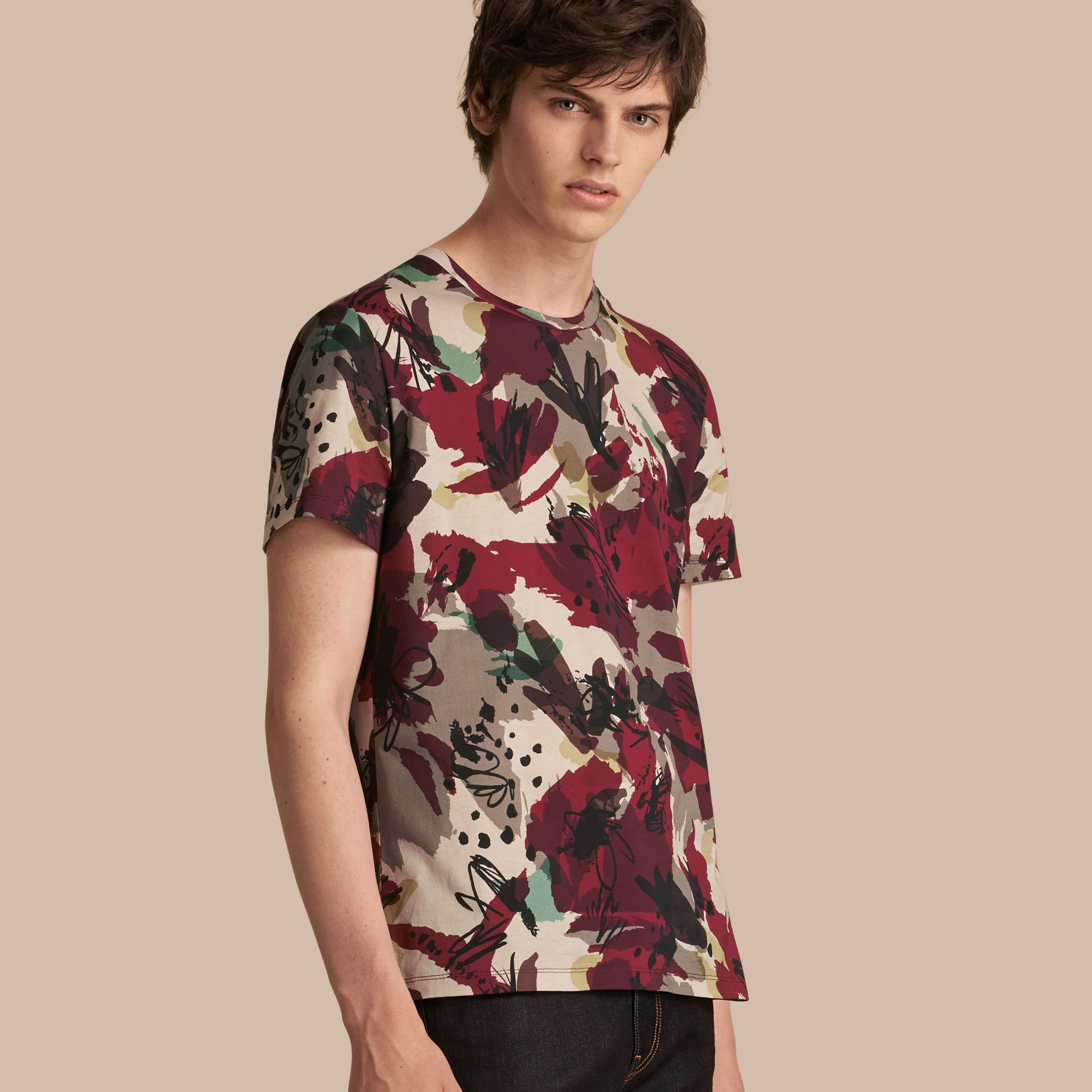 Parade red Abstract Floral Print Cotton T-shirt - gallery image 1