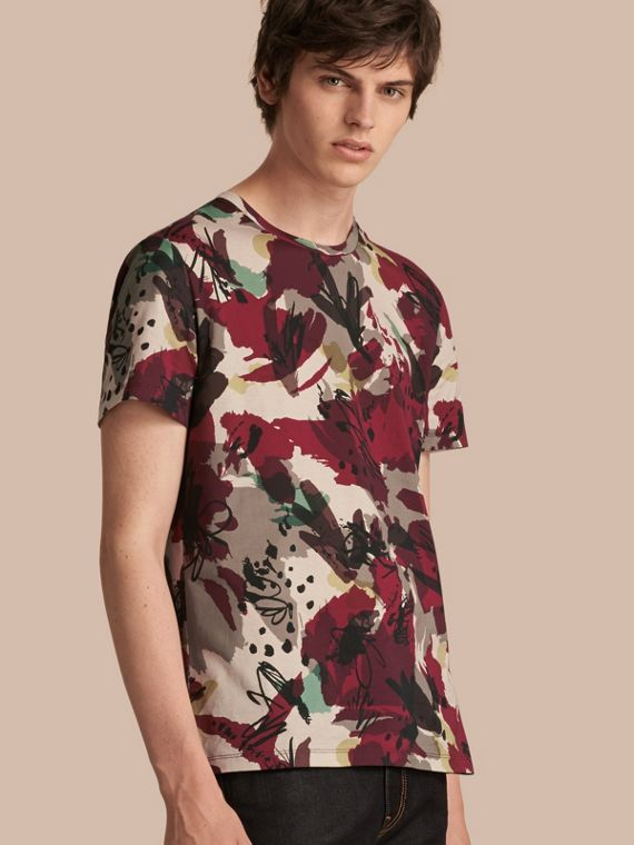 Abstract Floral Print Cotton T-shirt