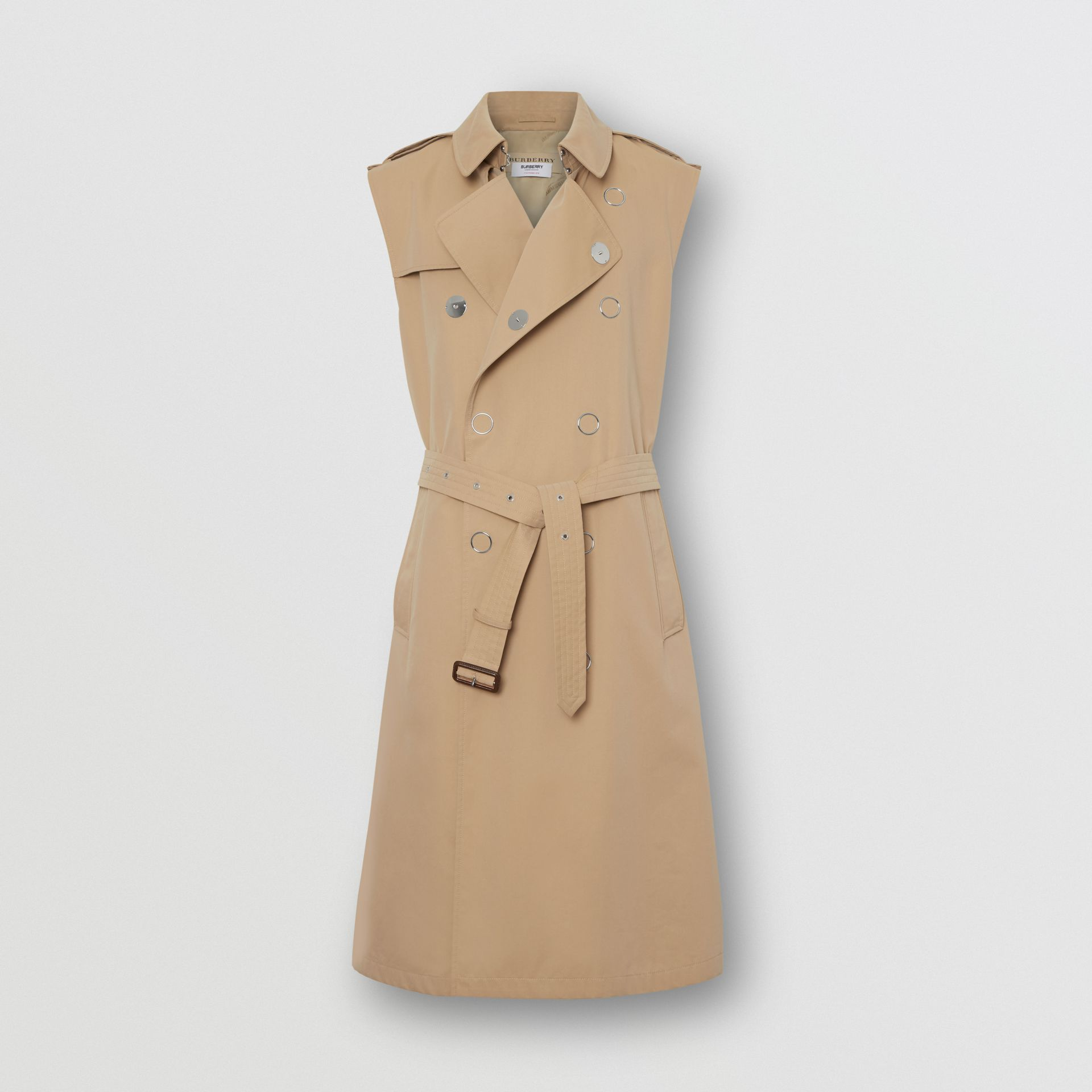 Sleeveless Cotton Gabardine Trench Coat in Honey | Burberry Australia - gallery image 2