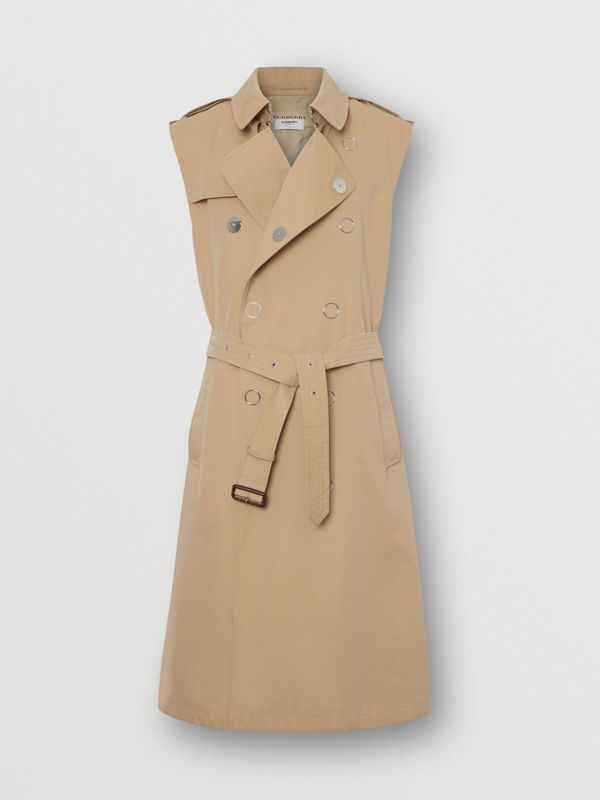 Sleeveless Cotton Gabardine Trench Coat in Honey | Burberry - cell image 2