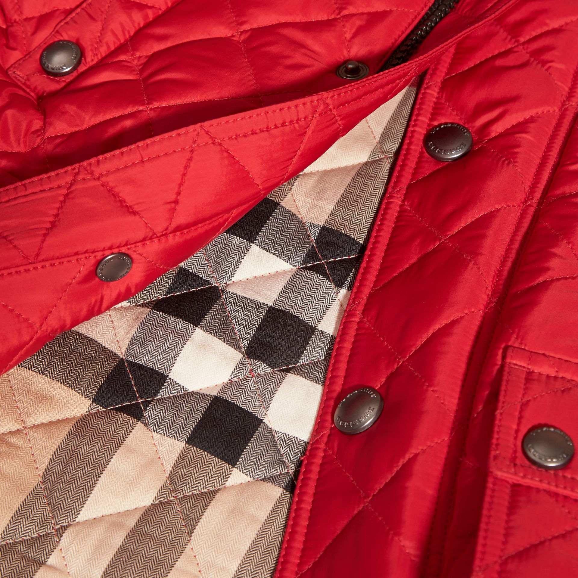 Bright cherry red Lightweight Quilted Jacket with Detachable Hood Bright Cherry Red - gallery image 6