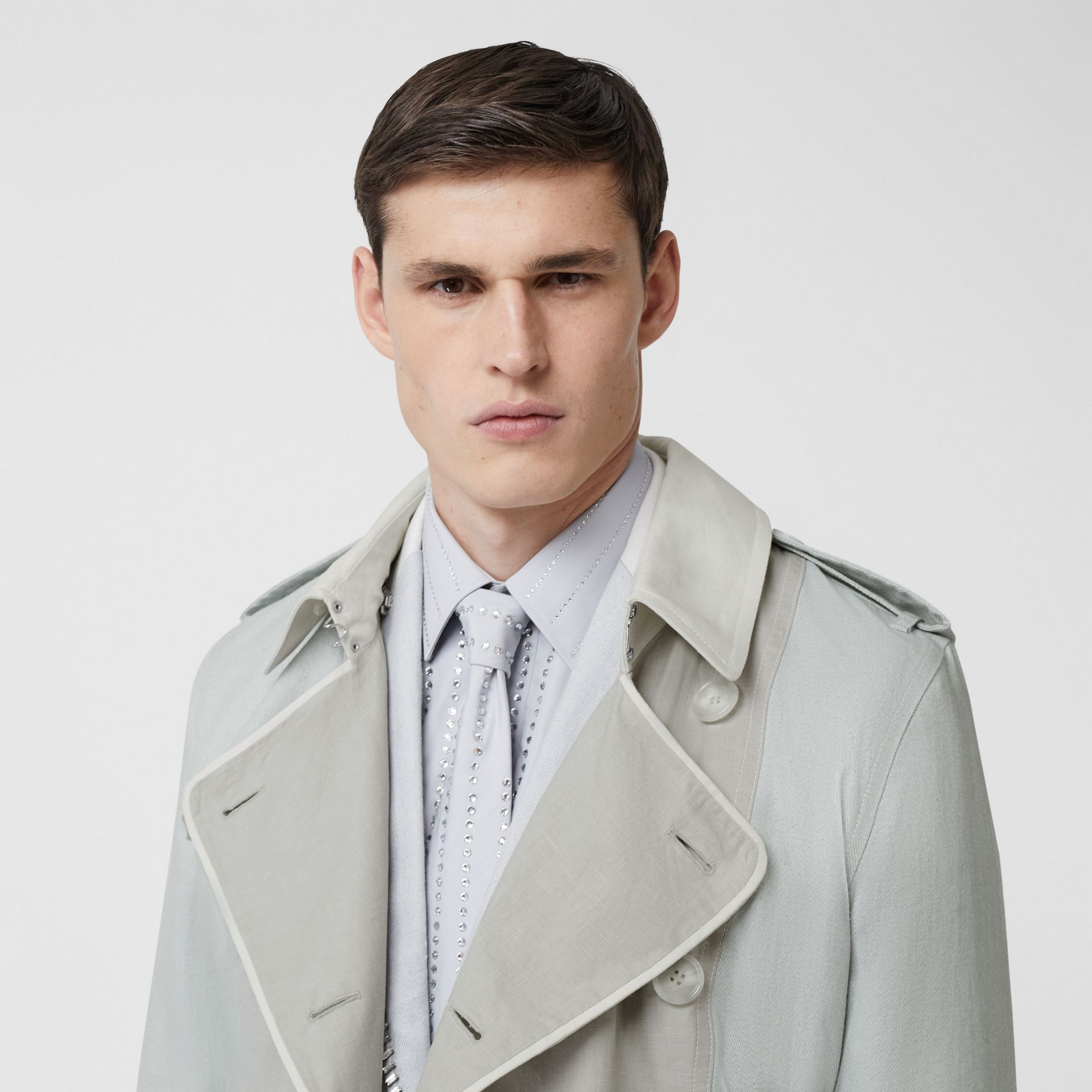 Panelled Linen Trench Coat in Light Pebble Grey - Men | Burberry - gallery image 1