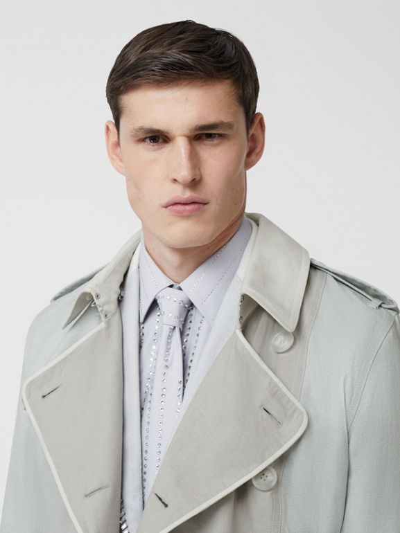 Panelled Linen Trench Coat in Light Pebble Grey - Men | Burberry - cell image 1
