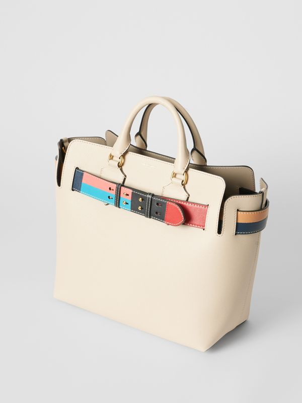 The Medium Leather Colour Block Detail Belt Bag in Limestone - Women | Burberry Singapore - cell image 2