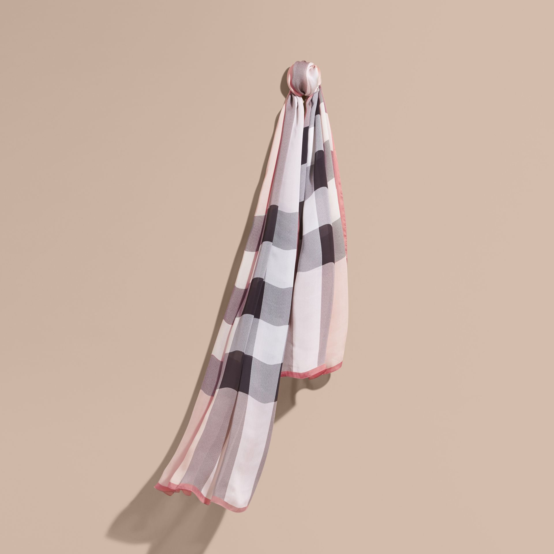 Lightweight Check Silk Scarf in Ash Rose - gallery image 1
