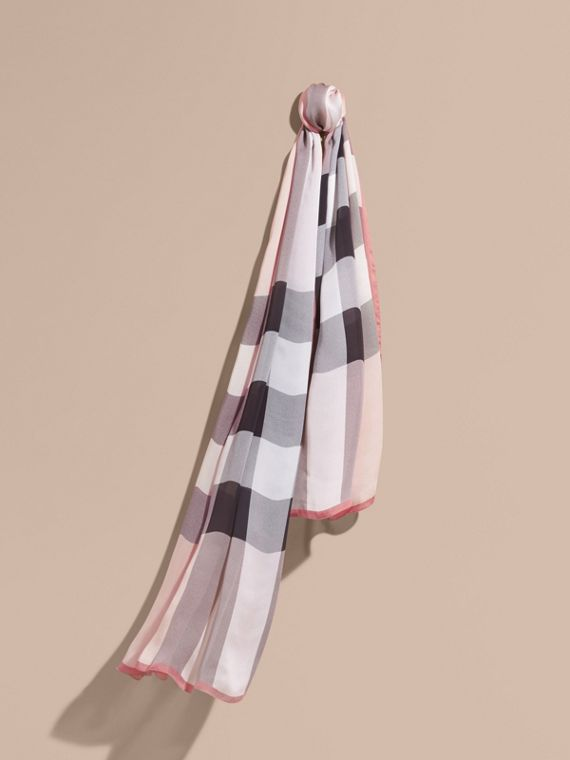 Lightweight Check Silk Scarf Ash Rose