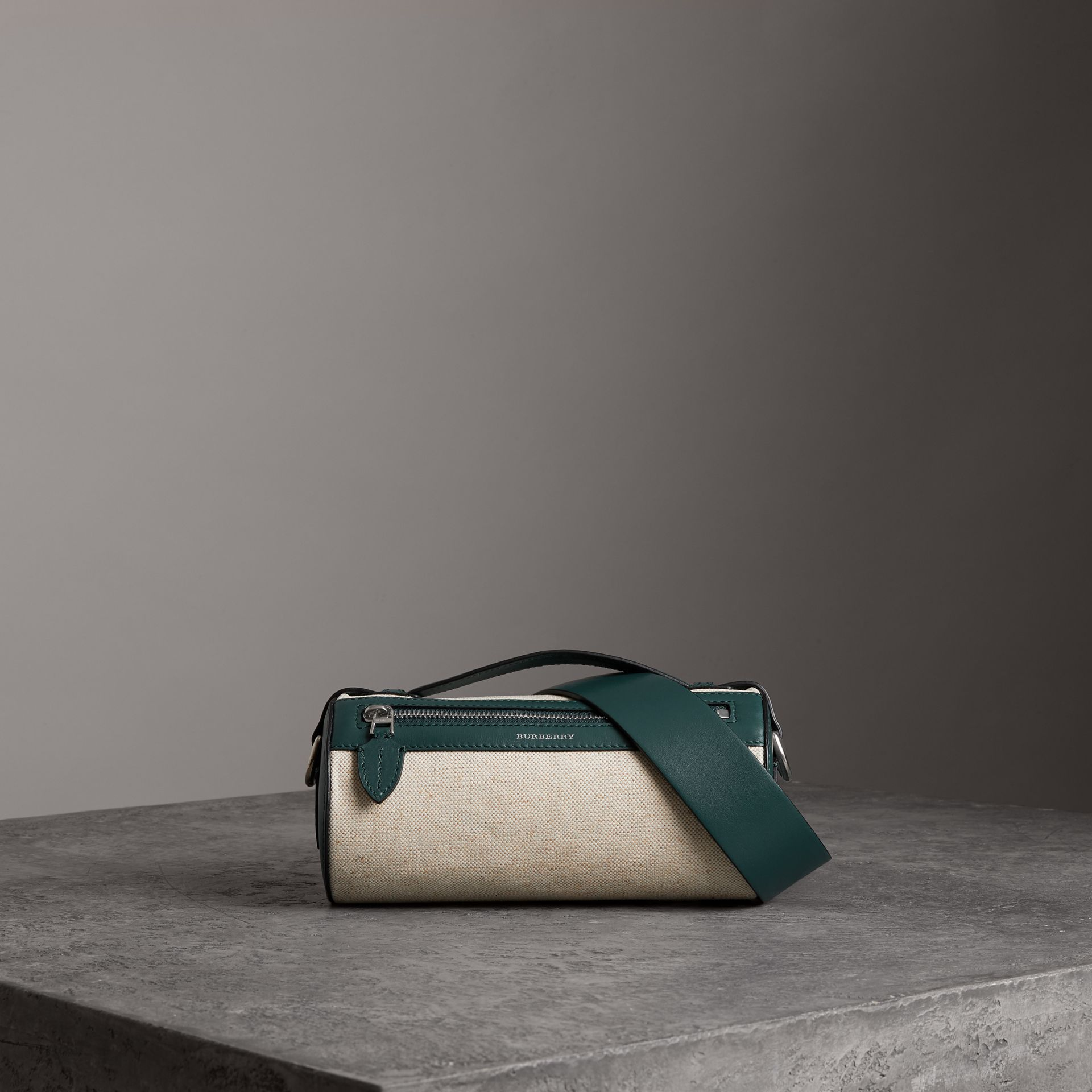 The Cotton Linen and Leather Barrel Bag in Dark Cyan - Women | Burberry United Kingdom - gallery image 0