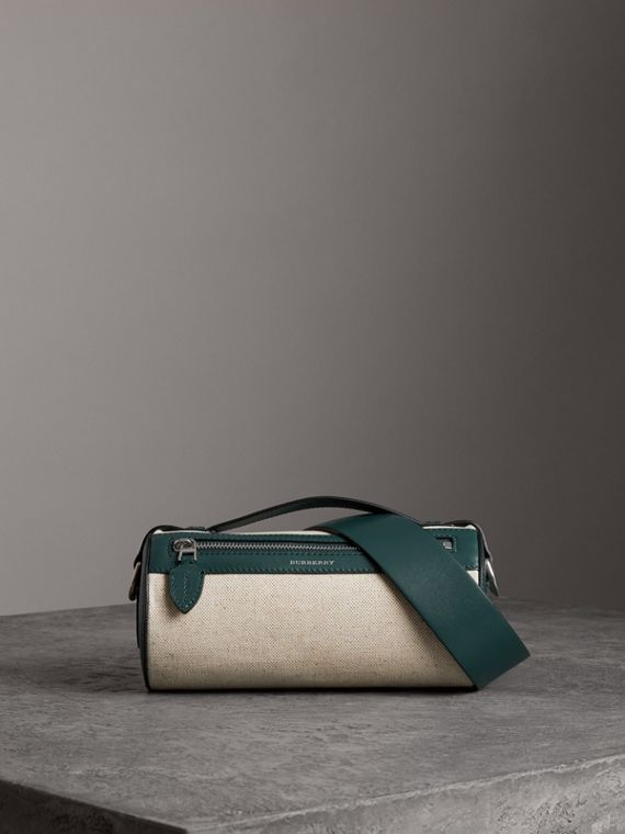 The Cotton Linen and Leather Barrel Bag in Dark Cyan
