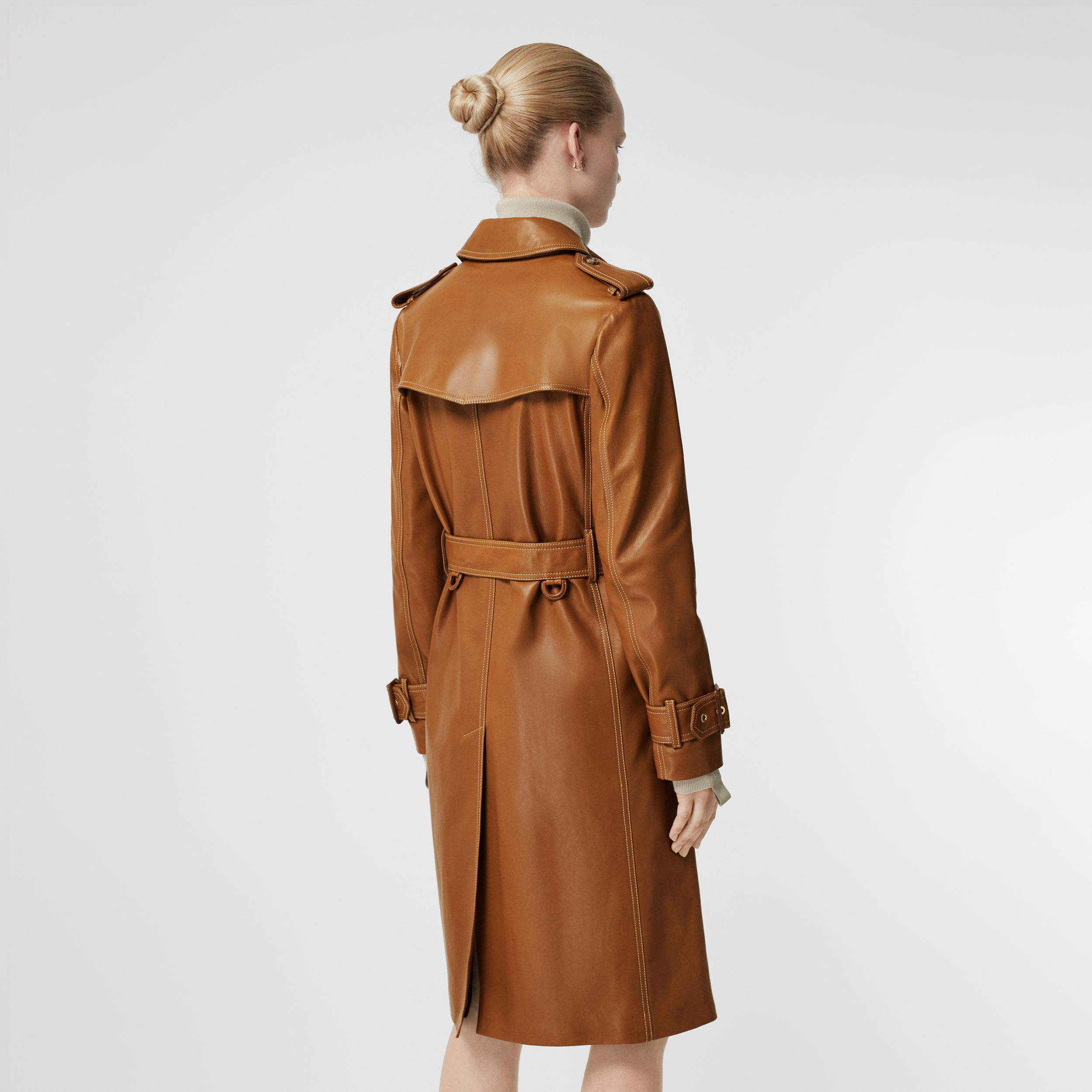 Topstitch Detail Lambskin Trench Coat in Maple - Women | Burberry - 3