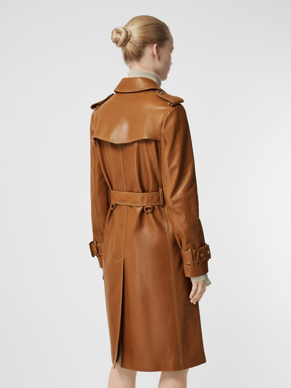Topstitch Detail Lambskin Trench Coat in Maple - Women | Burberry United Kingdom - cell image 2