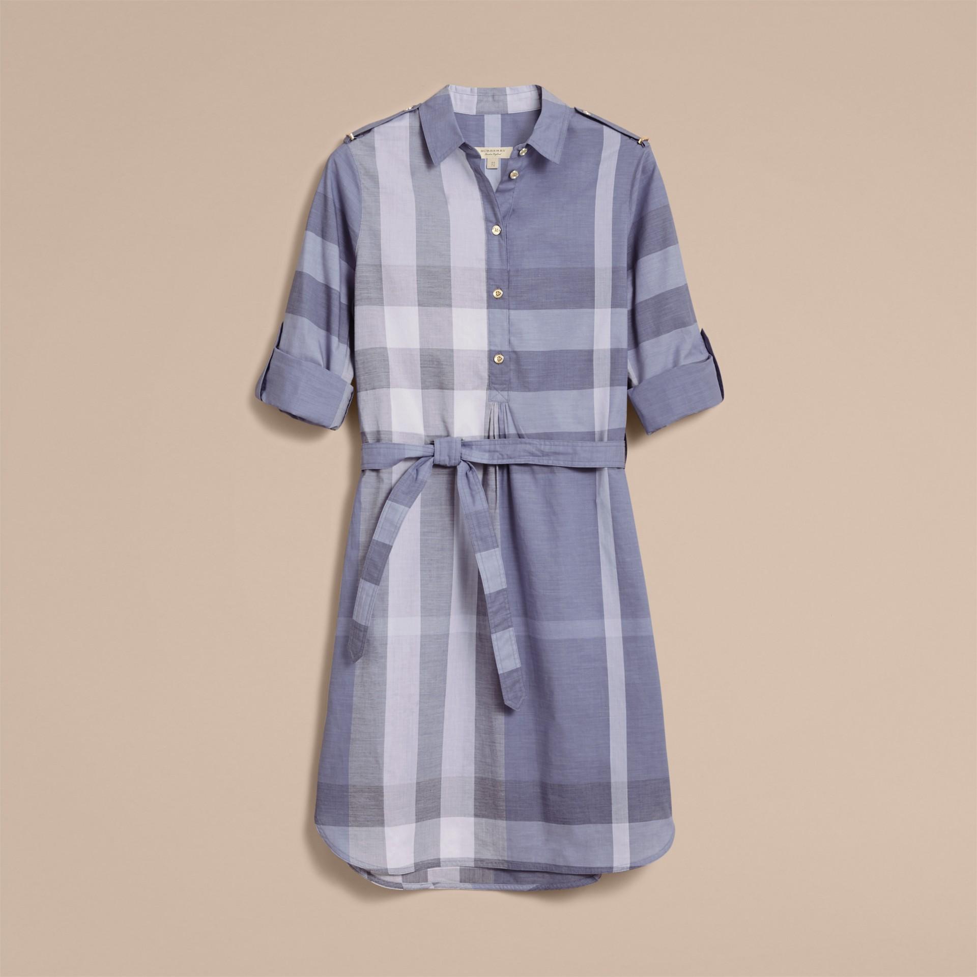 Tie-waist Check Cotton Shirt Dress - gallery image 4