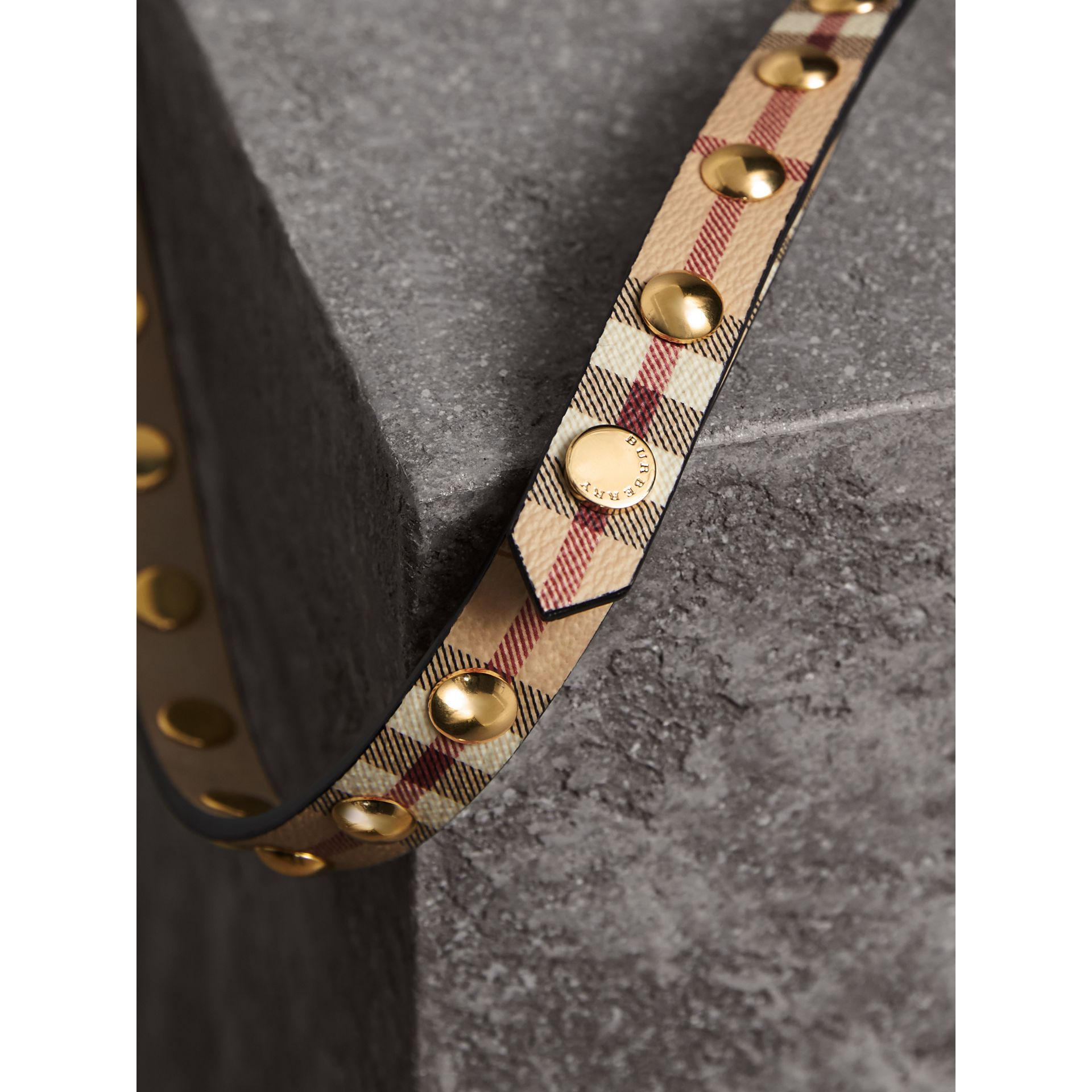Studded Haymarket Check Double-wrap Belt - Women | Burberry - gallery image 1