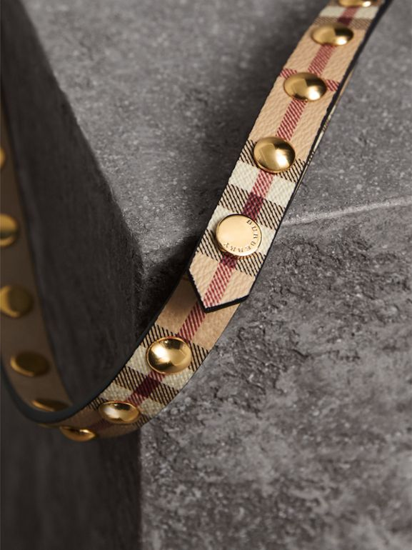 Studded Haymarket Check Double-wrap Belt - Women | Burberry - cell image 1