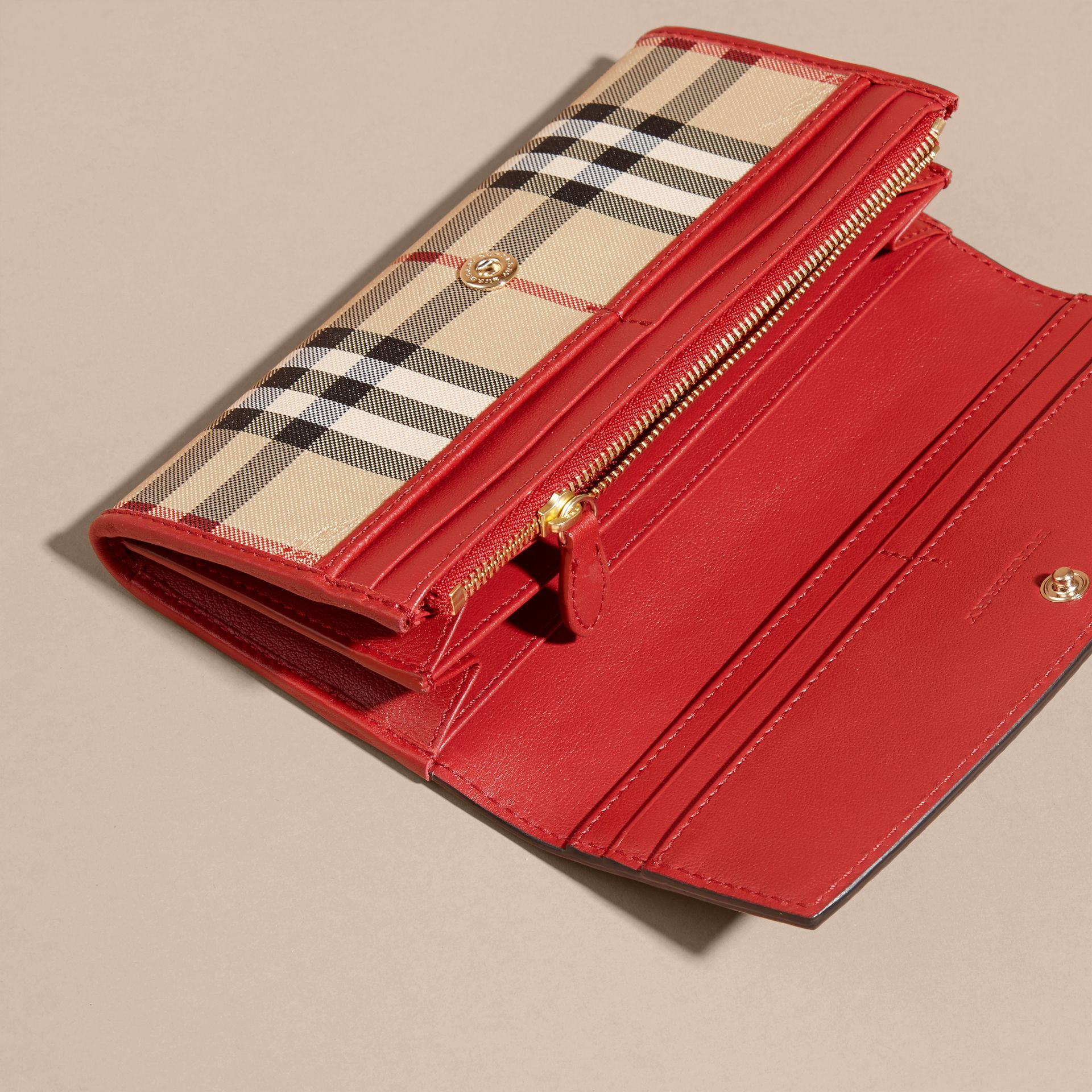 Horseferry Check and Leather Continental Wallet in Parade Red - Women | Burberry - gallery image 5