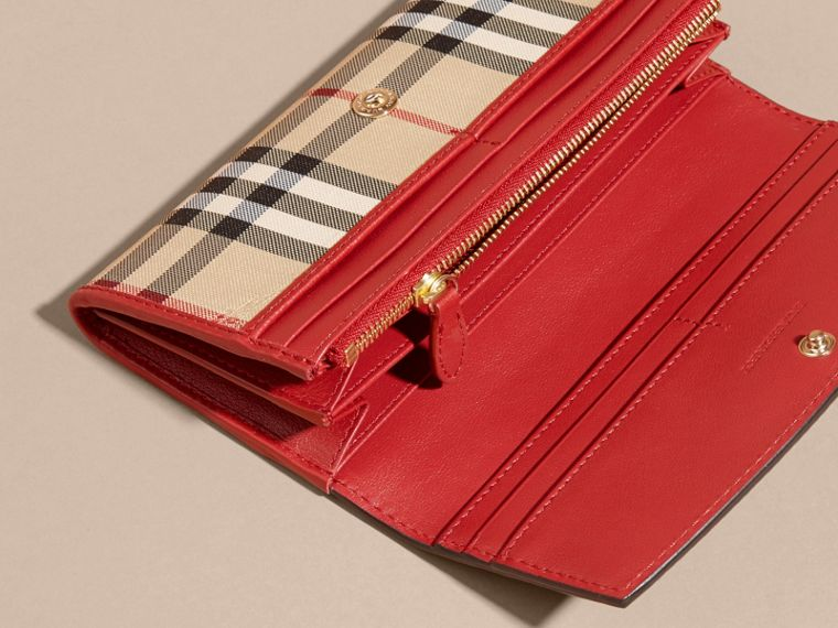 Horseferry Check and Leather Continental Wallet in Parade Red - Women | Burberry - cell image 4