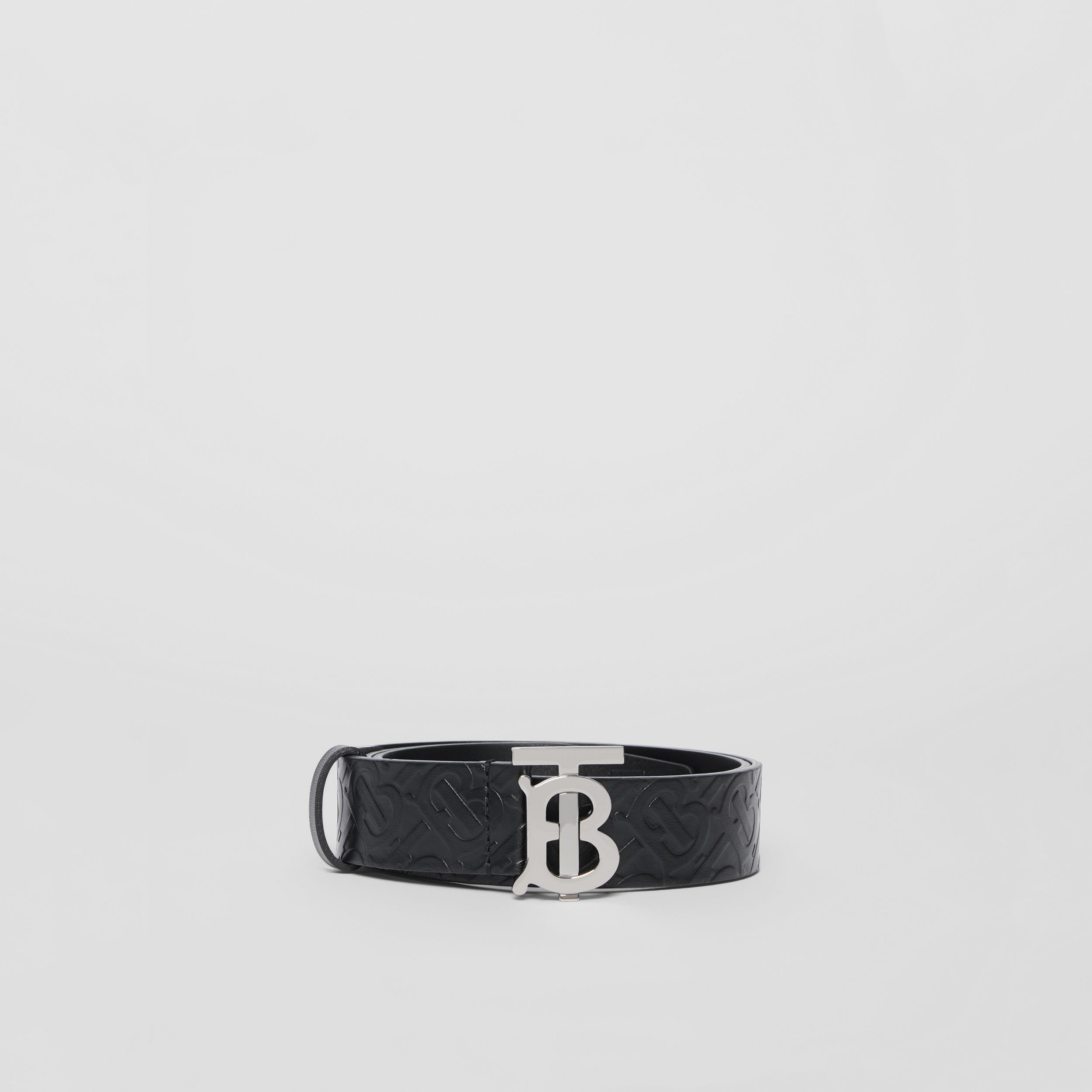 Monogram Motif Monogram Leather Belt in Black/palladium - Men | Burberry - 4