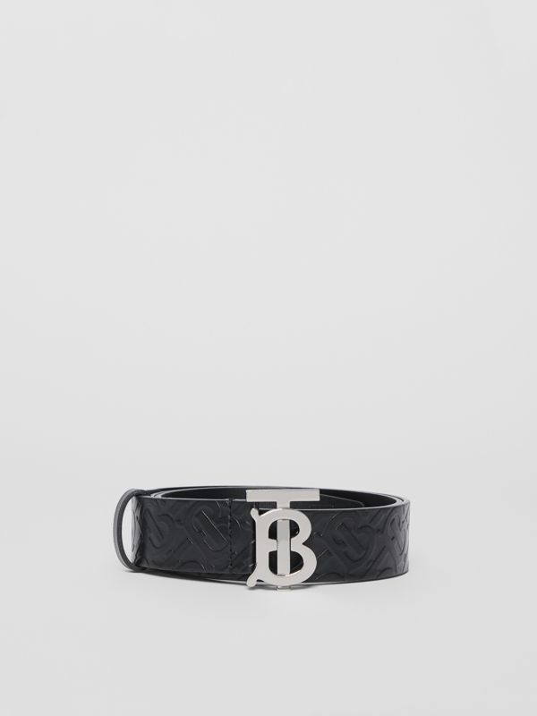 Monogram Motif Monogram Leather Belt in Black - Men | Burberry - cell image 3