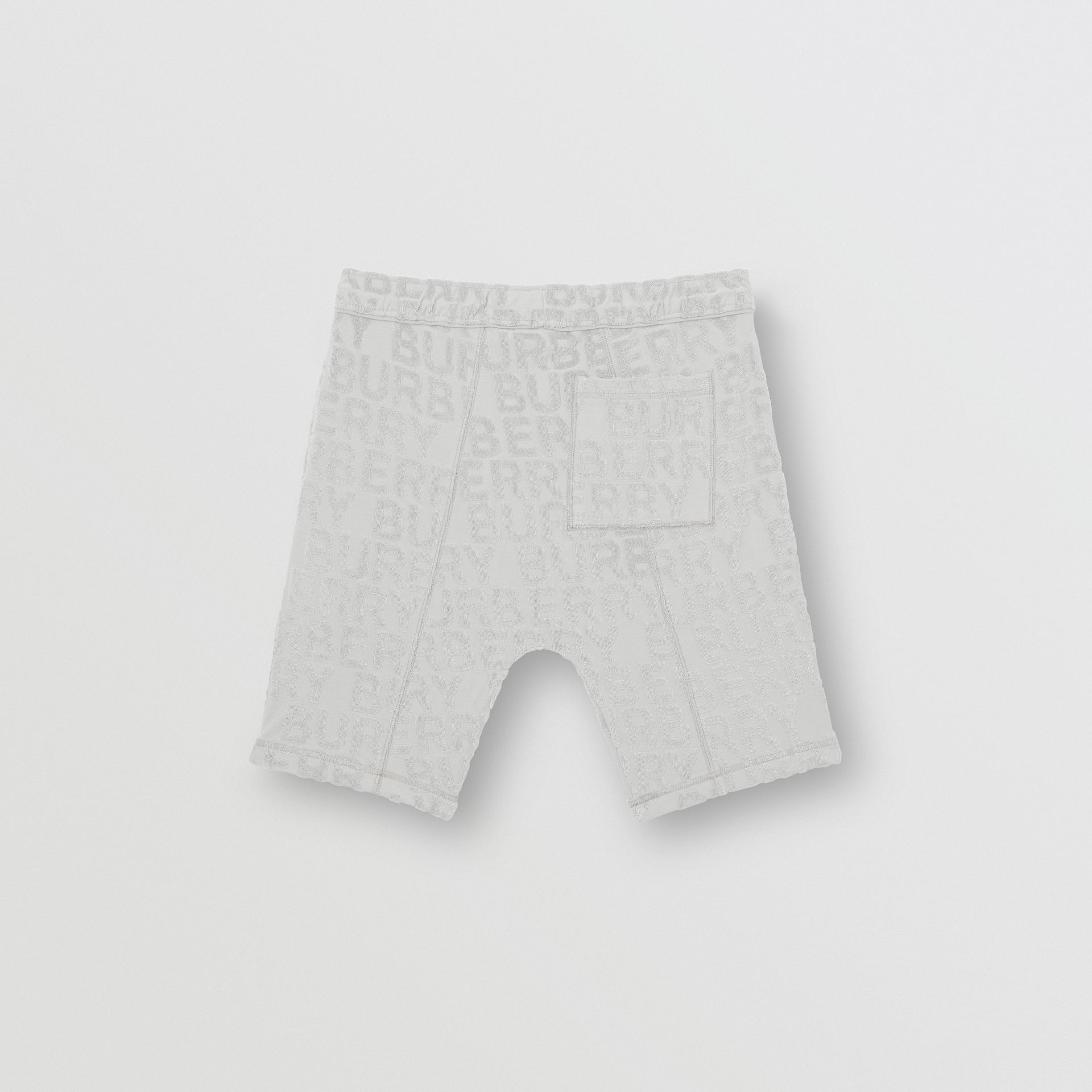 Logo Towelling Drawcord Shorts in Pale Grey | Burberry - gallery image 3