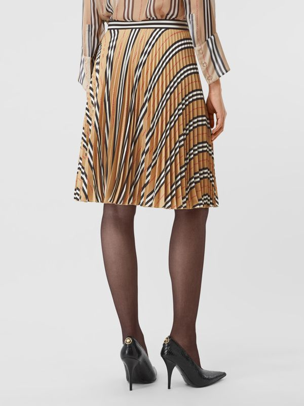 Logo and Stripe Print Crepe Pleated Skirt in Archive Beige - Women | Burberry - cell image 2