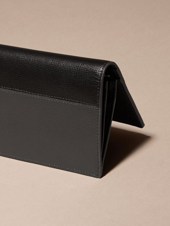 Charcoal/black Colour Block London Leather Continental Wallet Charcoal/black - cell image 3
