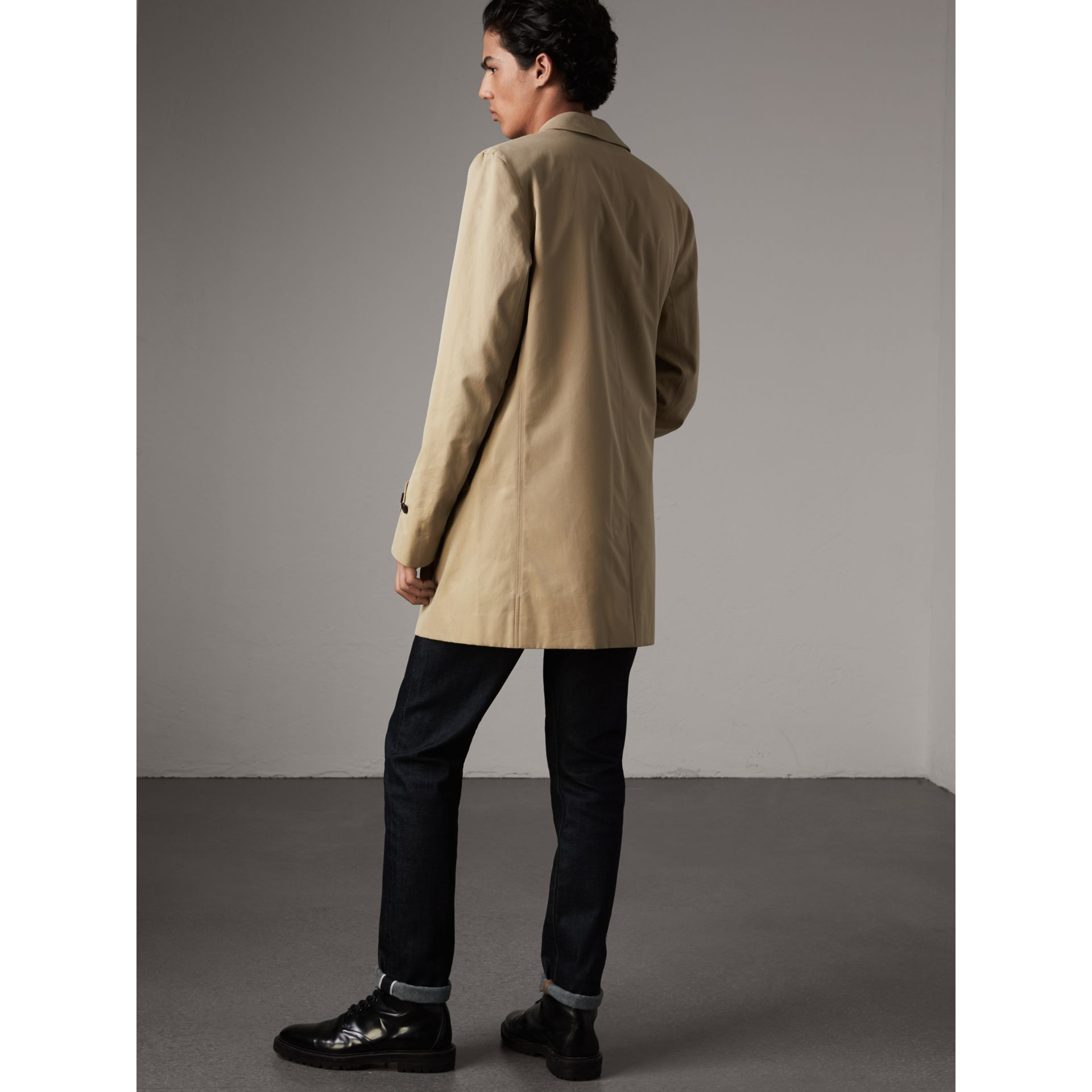 Cotton Gabardine Car Coat in Honey - Men | Burberry - gallery image 3