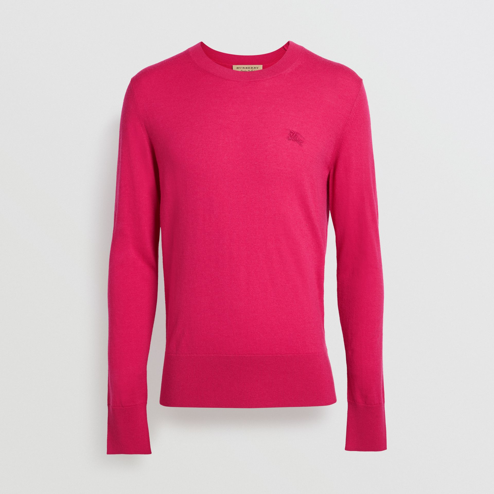 Crew Neck Cashmere Sweater in Bright Pink - Men | Burberry Singapore - gallery image 3