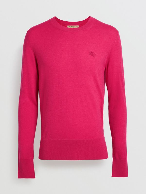 Crew Neck Cashmere Sweater in Bright Pink - Men | Burberry Singapore - cell image 3