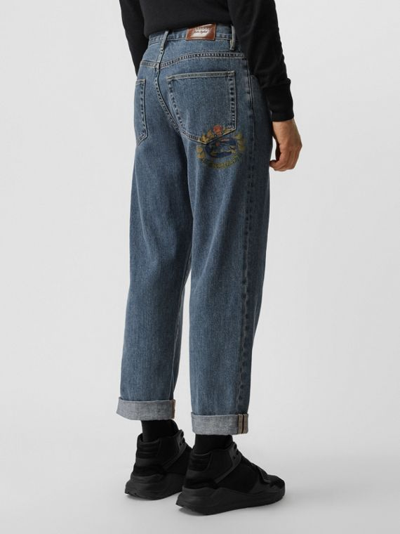 Relaxed Fit Stonewashed Jeans in Mid Indigo