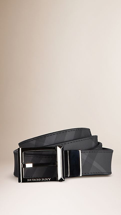 Black Charcoal Check Reversible Leather Belt - Image 1