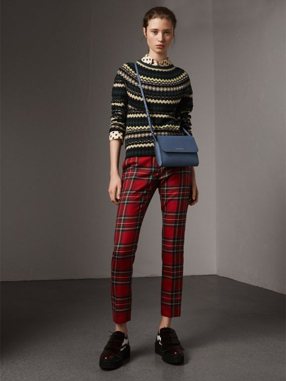 Grainy Leather Crossbody Bag in Steel Blue - Women | Burberry - cell image 2