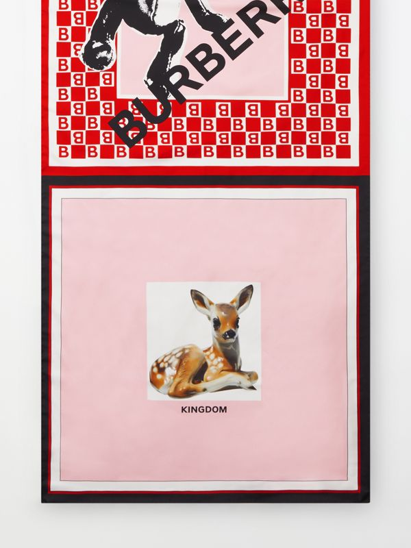 Montage Print Silk Scarf in Candy Pink | Burberry United Kingdom - cell image 3
